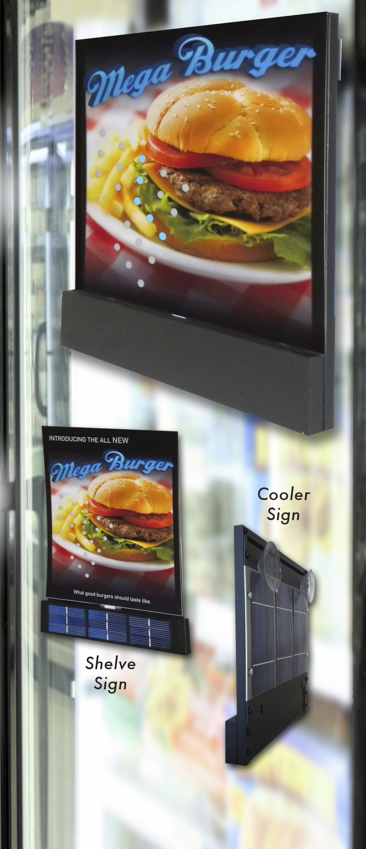 Solar Powered El Point of Purchase Signs